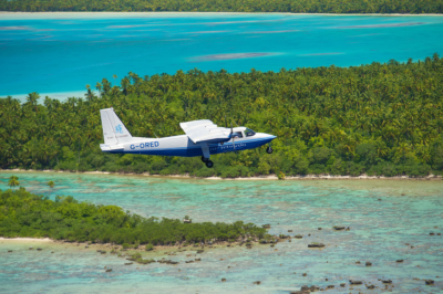 Air Tetiaroa plane flying over Marlon Brando's island