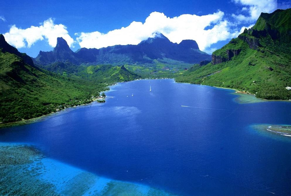 Aerial view on Moorea Bay
