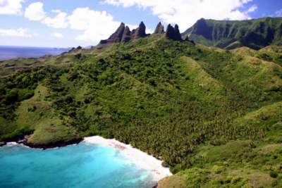 Aerial view on a Bay of Nuku Hiva in the Marquesas Archipelago