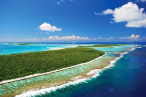 Aerial view of Tetiaroa, Marlon Brando's island