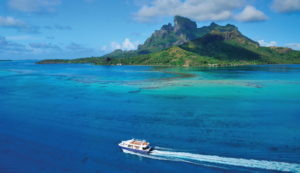 Arial view on Bora Bora shuttle and lagoon