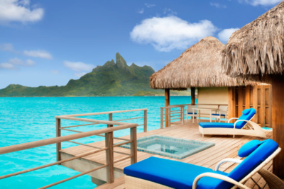 View on the Otemanu mount from the St Regis Bora Bora Resort - Overwater villa