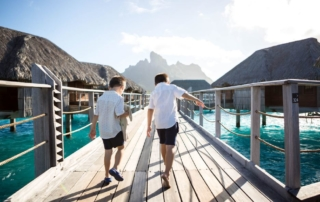 Kids walking in Bora Bora
