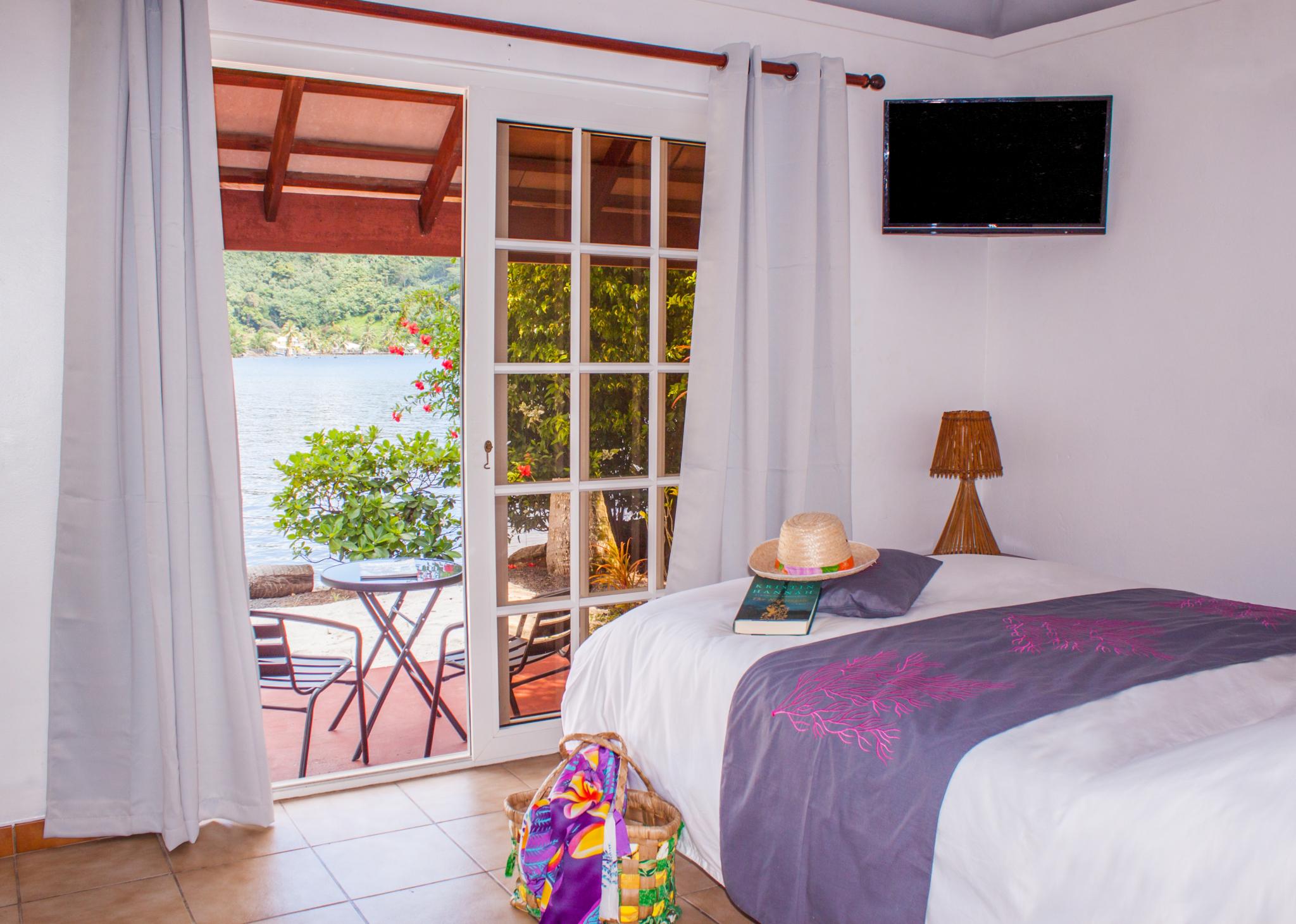 Chambre vue lagon de la villa Ixora