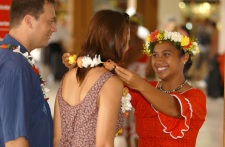 Welcome by a hostess from Tahiti Nui Travel at the international airport of Tahiti-Faa'a