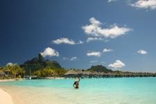 Beach and lagoon in Bora Bora