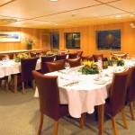 Dining area in the cruise
