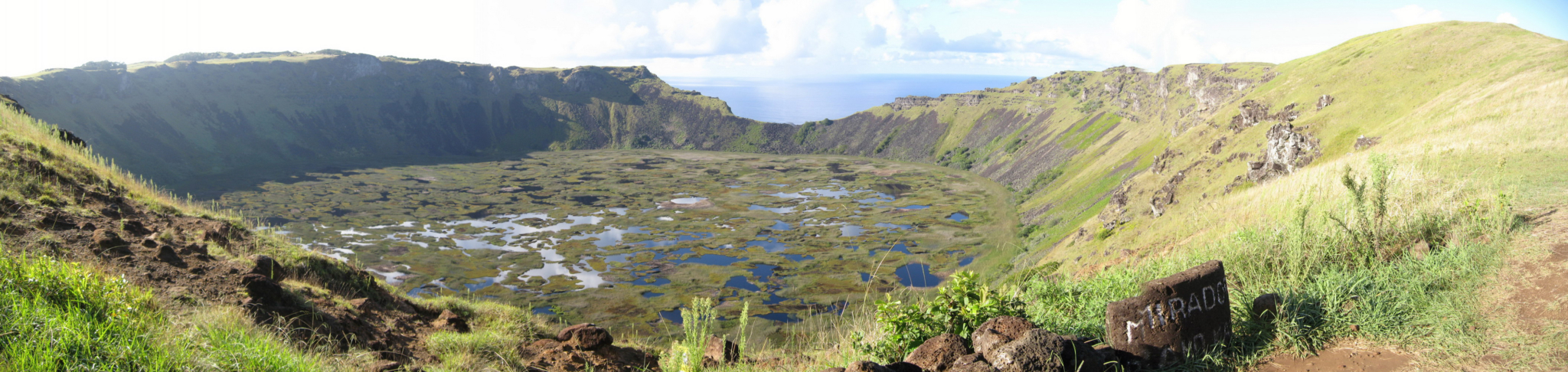 The Rano Kau crater in Rapa Nui