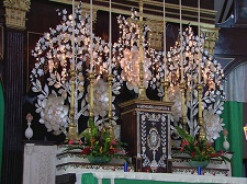 The altar decorated with pearls and mother-of-pearl