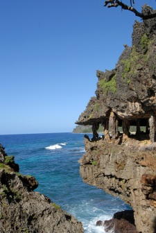 Grottoes overhanging the ocean