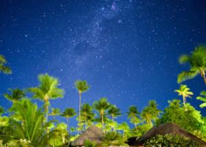 Night sky full of stars in the Tuamotu archipelago