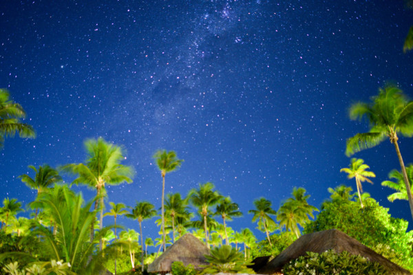 Night sky full of stars in the Tuamotu archipelago