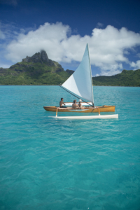 Outrigger canoe on Bora Bora lagoon